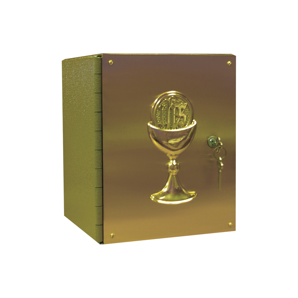 "chalice embellished steel and satin brass tabernacle - 12"" high"