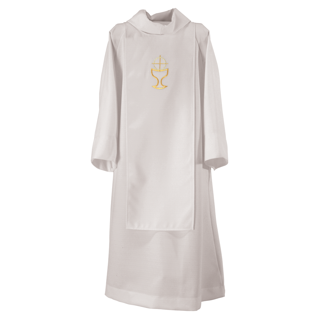chalice and host embroidered tabard over dominic alb