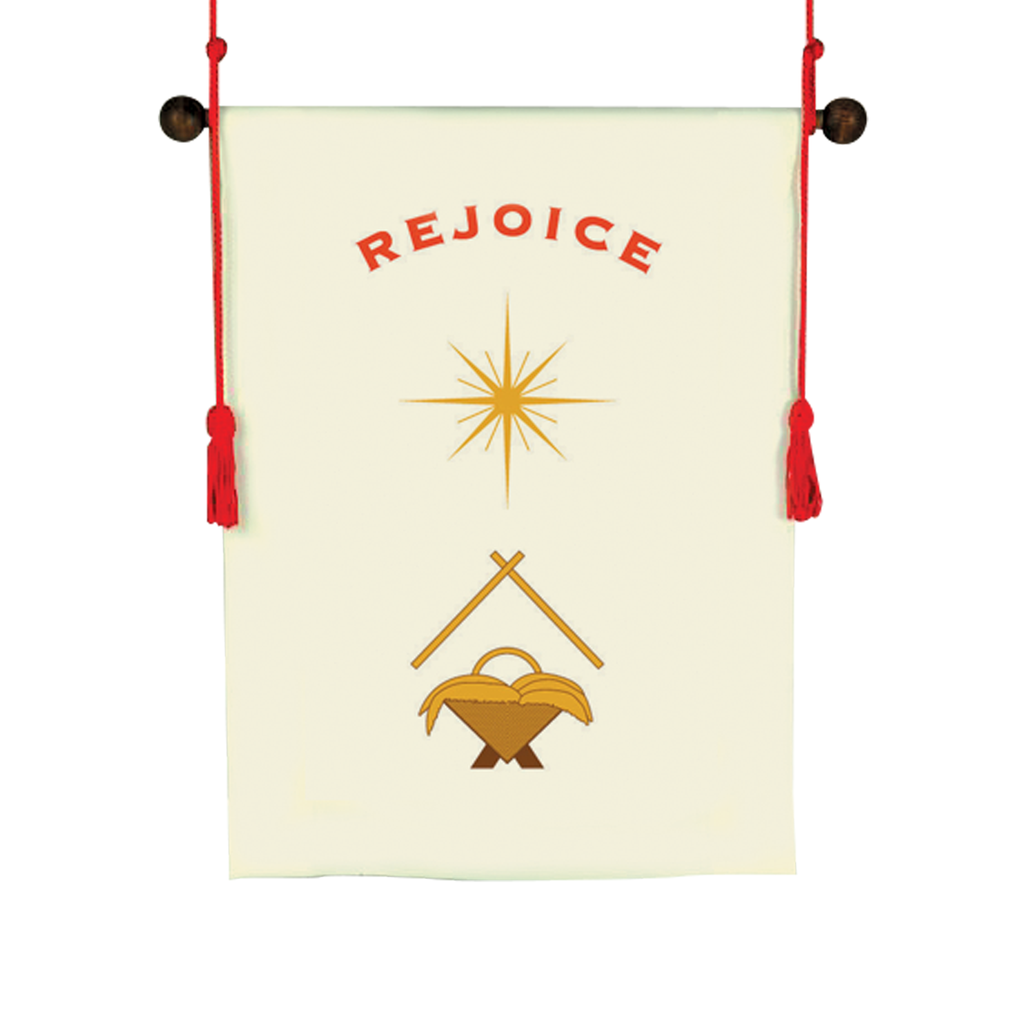 christmas nativity and rejoice design white hanging banner