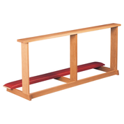communion kneeler in oak with cushioned pad