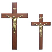 "wooden cross and brass corpus - 12"" and 16"" high"