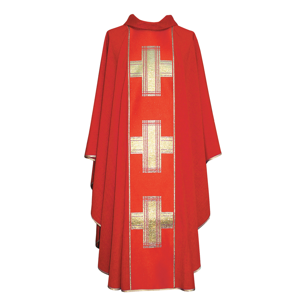 cross panel chasuble - red