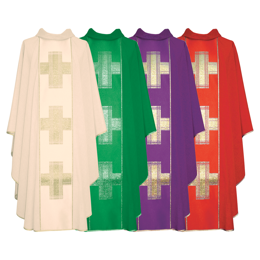 cross panel chasuble - cream green purple and red