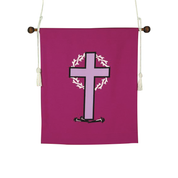 cross and crown of thorns design purple hanging banner