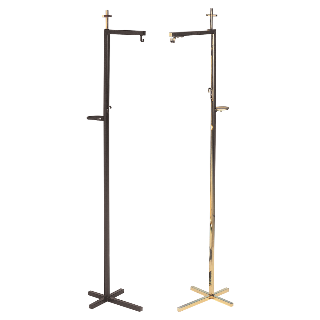 cross top thurible stand - wrought iron and brass