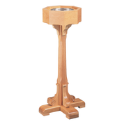 decorative base oak standing baptismal font with stainless steel bowl