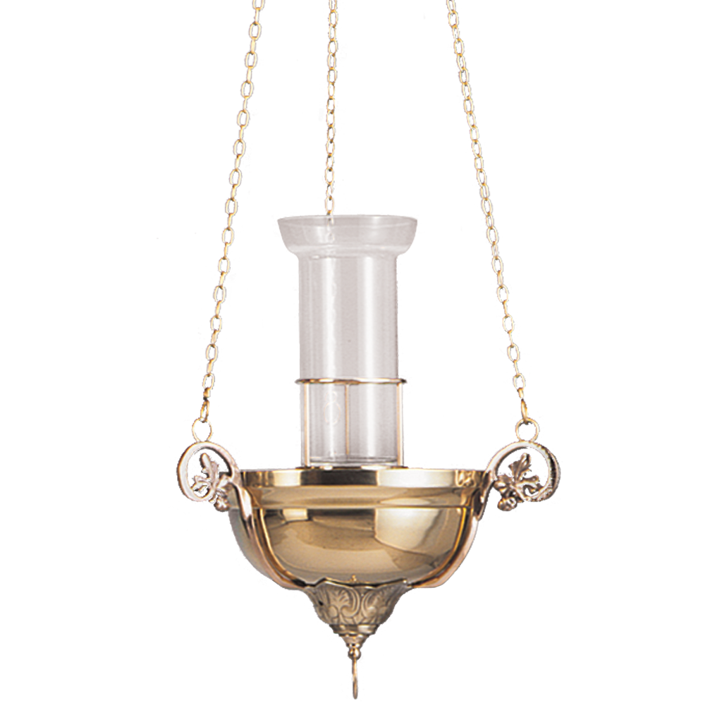 decorative polished brass sanctuary hanging lamp with cast brass arms