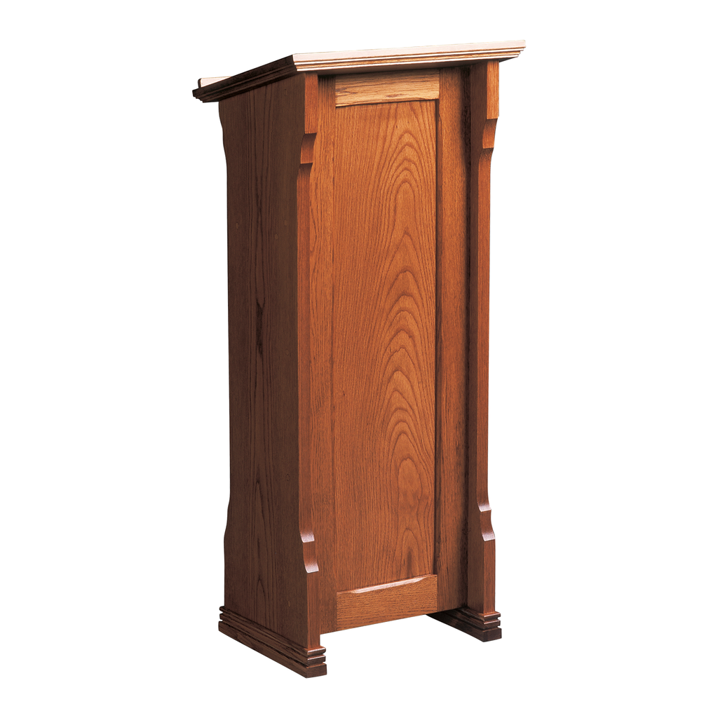 decorative oak lectern with book shelf