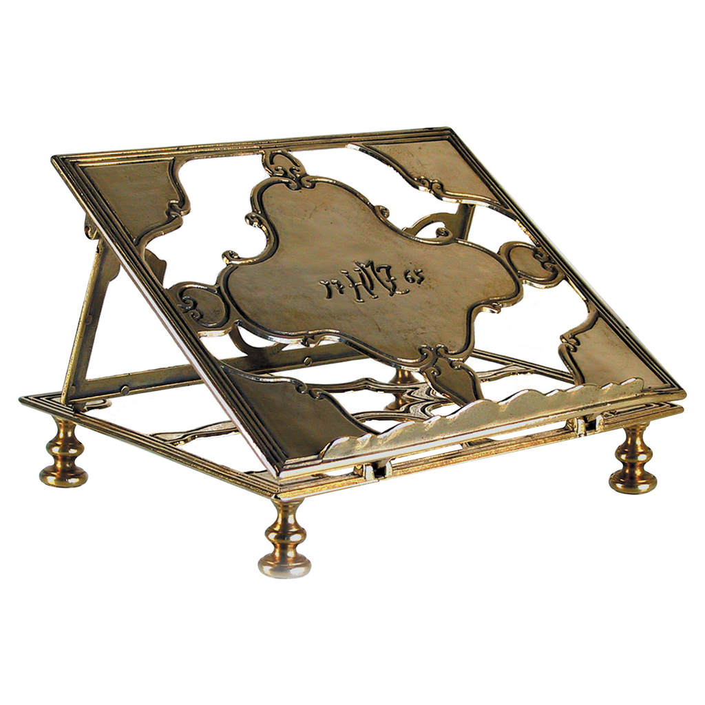 decorative and ornate shaped brass missal stand