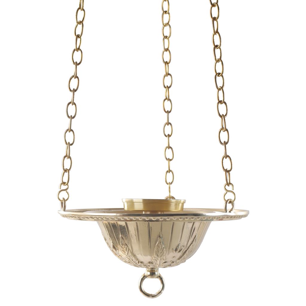 dish design polished brass sanctuary hanging lamp