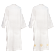 double breasted lightweight alb - plain and with jerusalem cross hemline embroidery