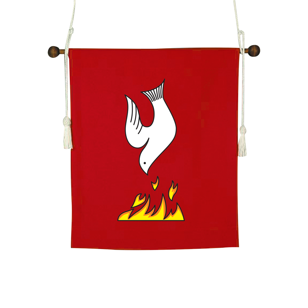 dove and flames design red hanging banner