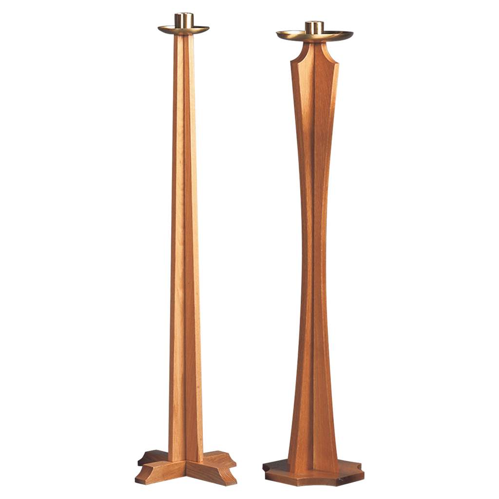 drip pan oak paschal candlestick - straight and curved stem