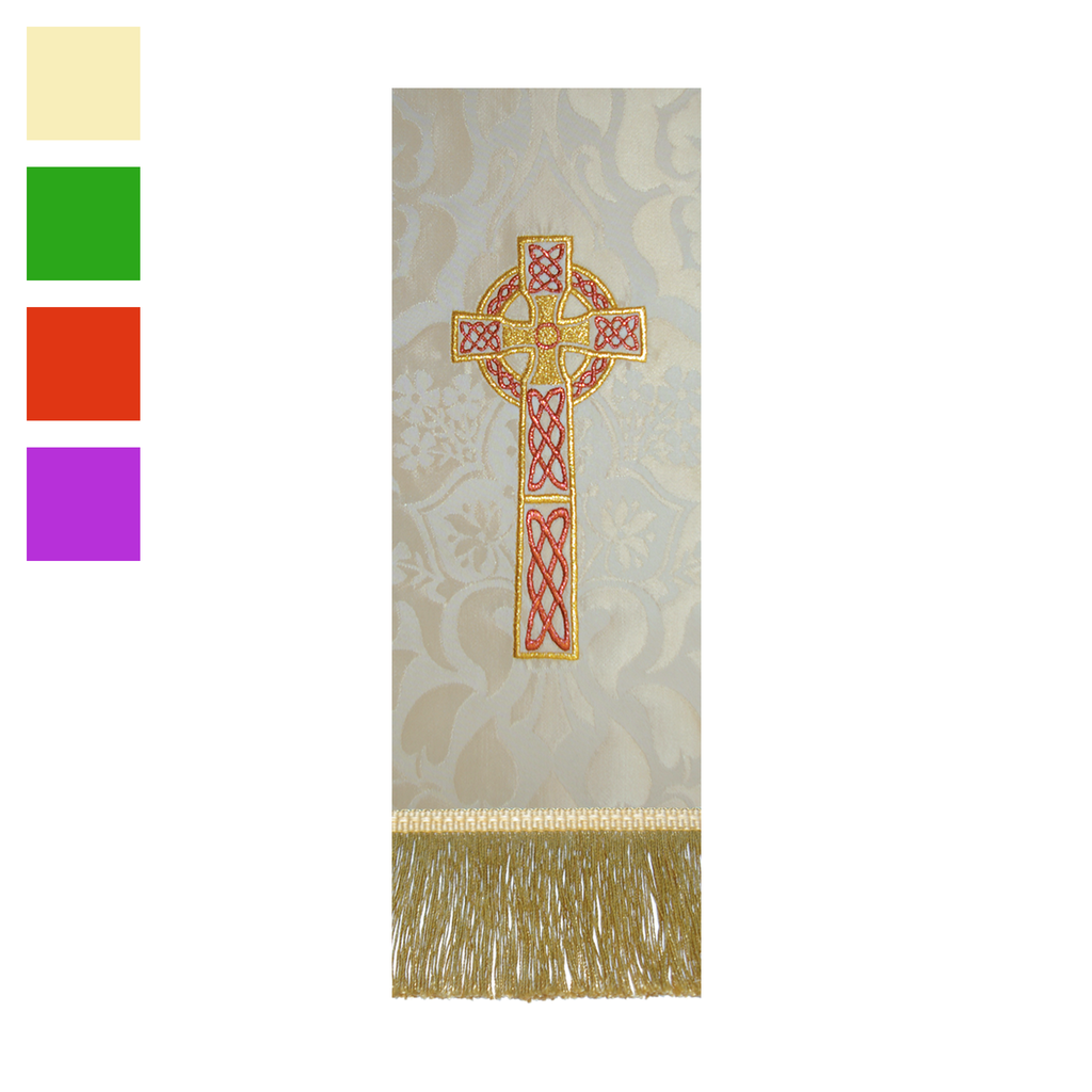 embroidered brocade stole - celtic cross - cream green red and violet