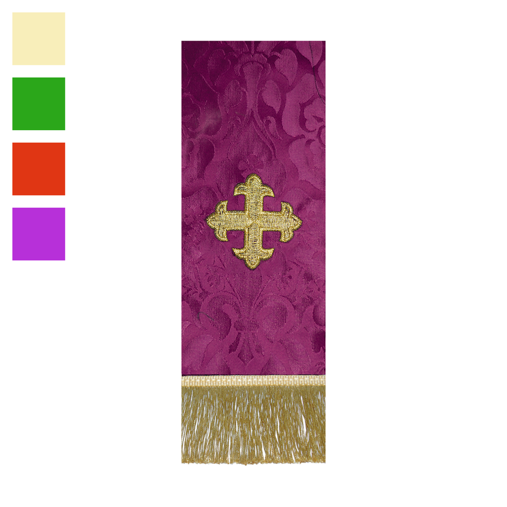 embroidered brocade stole - fleuree cross - cream green red and violet