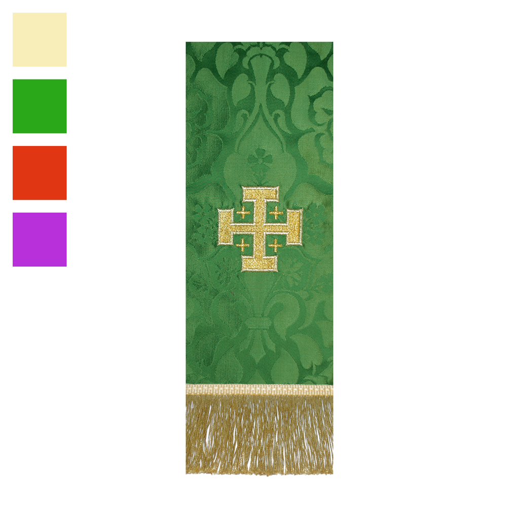 embroidered brocade stole - jerusalem cross - cream green red and violet