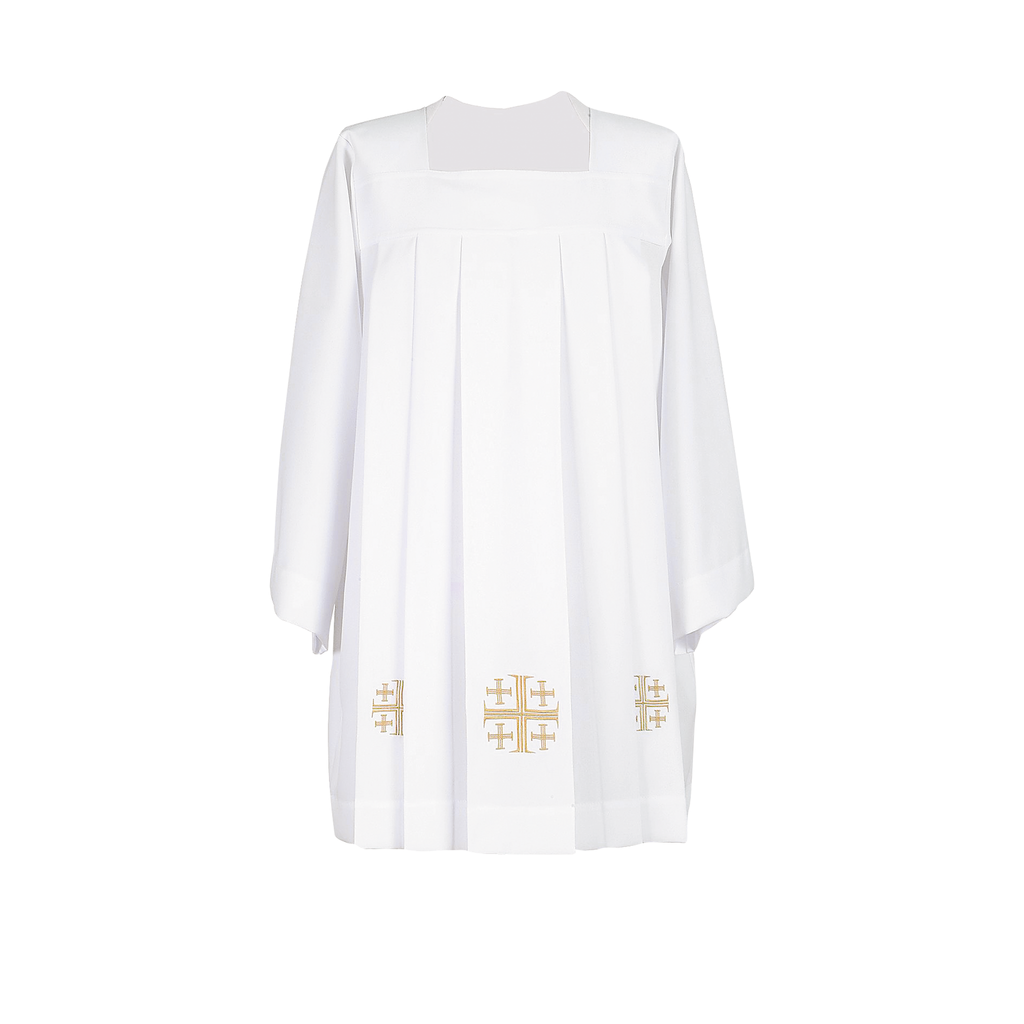 embroidery trimmed jerusalem cross cotta
