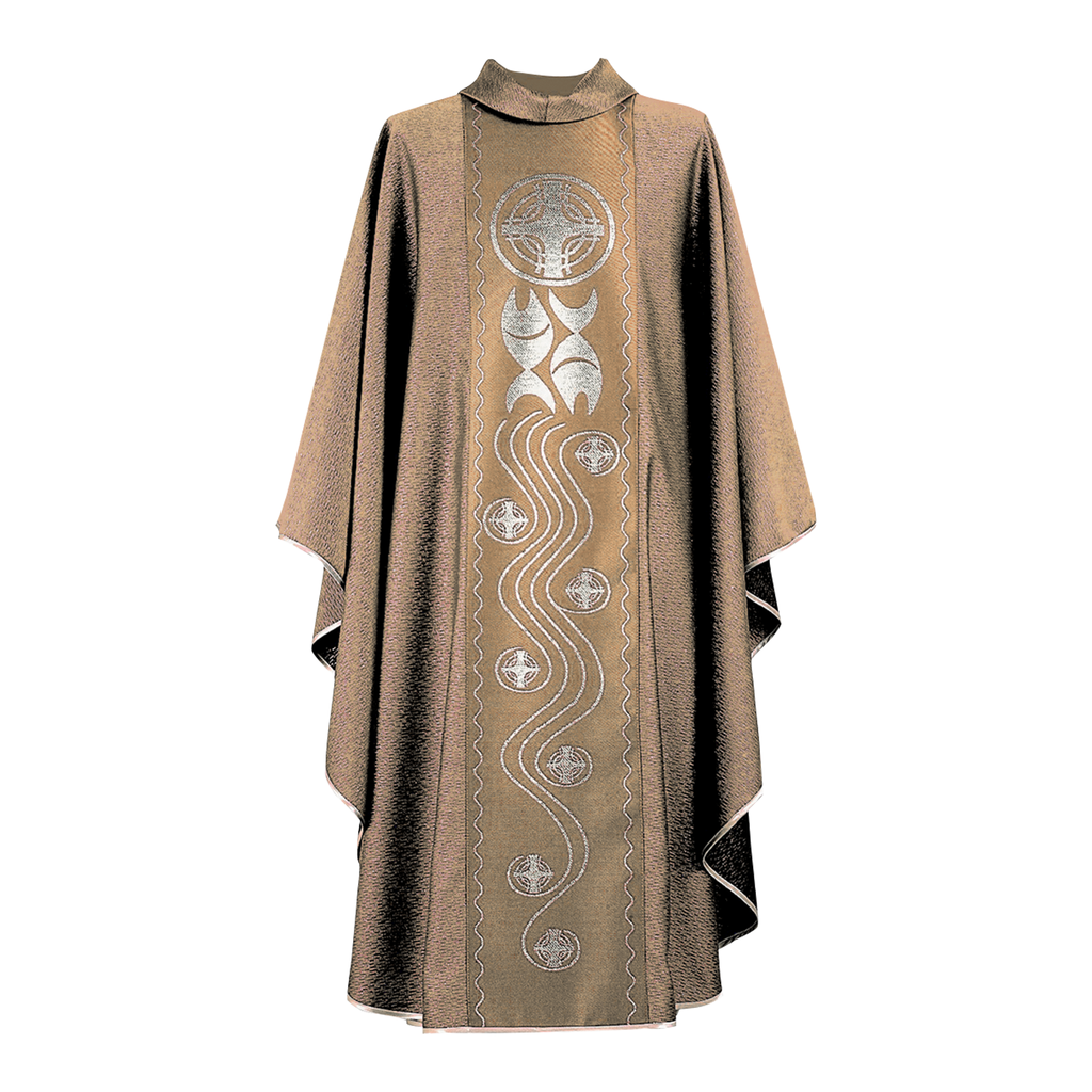 fish and cross design panel chasuble - cream