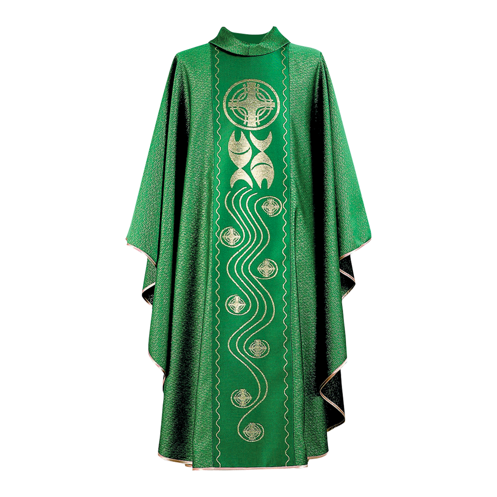 fish and cross design panel chasuble - green