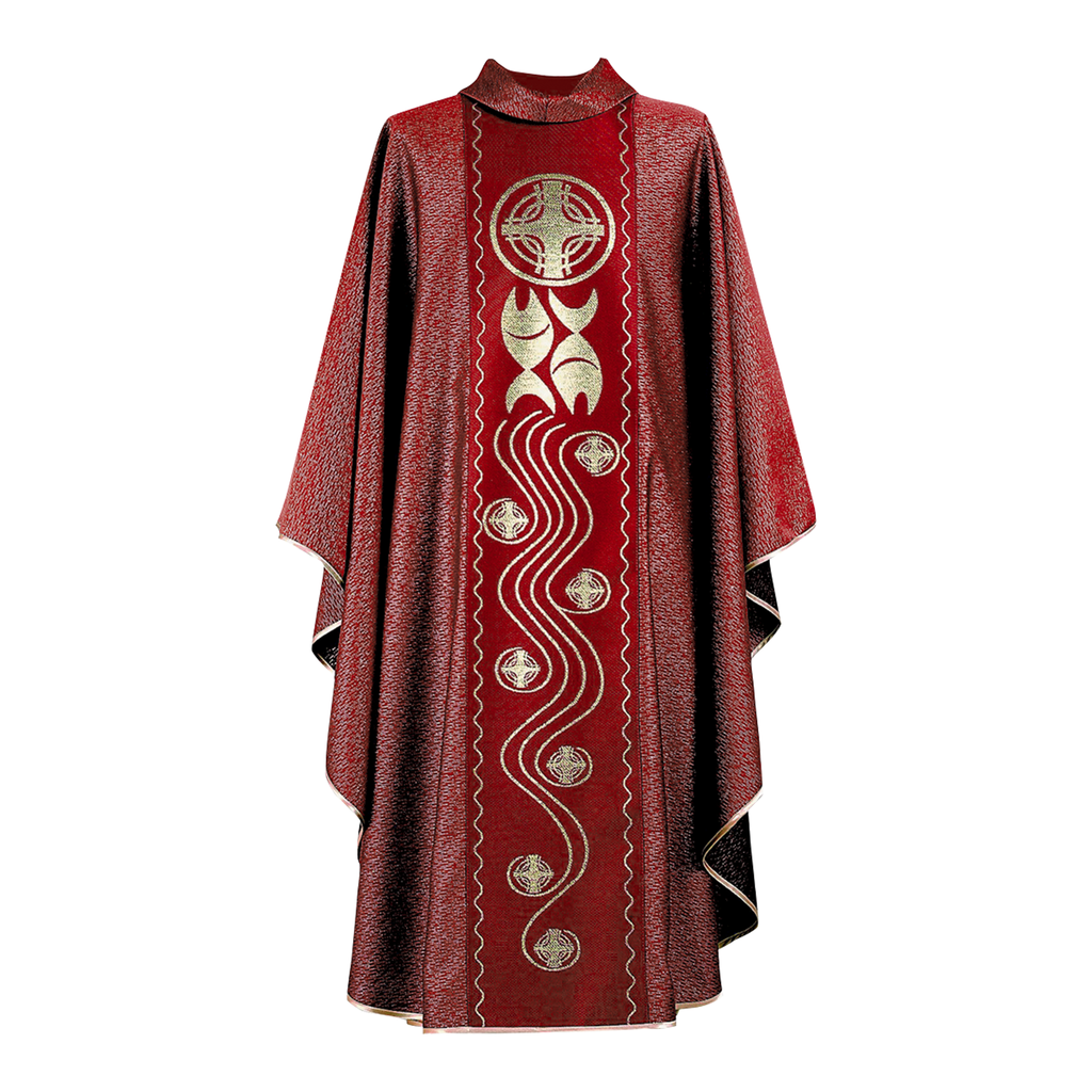 fish and cross design panel chasuble - red