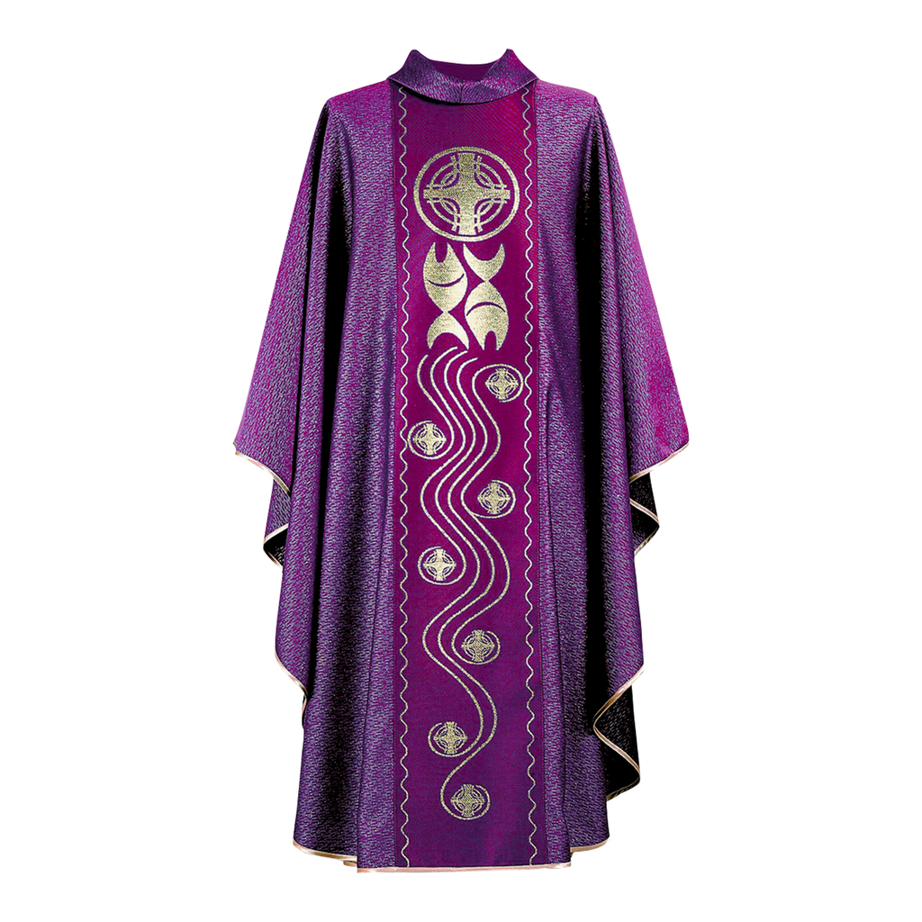 fish and cross design panel chasuble - violet