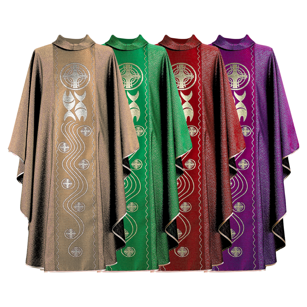 fish and cross design panel chasuble - cream green red and violet