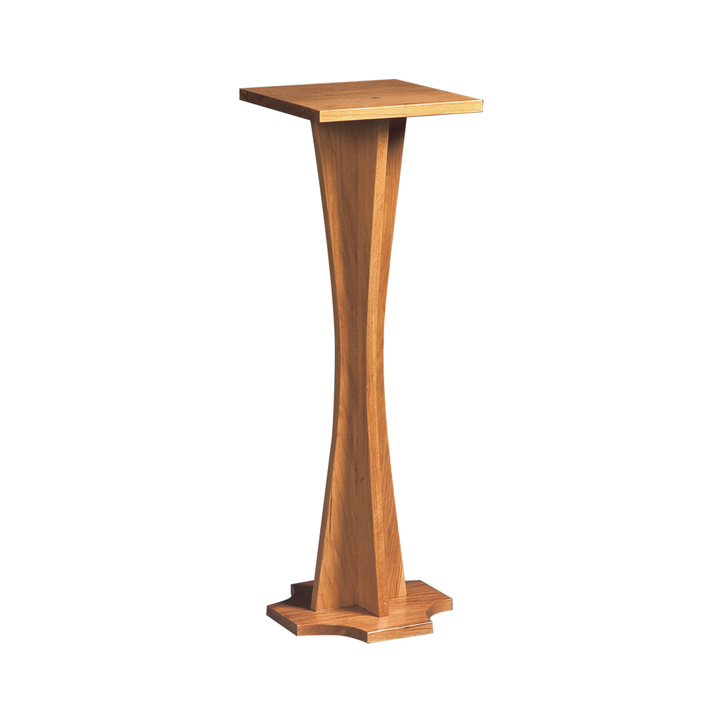 flower oak pedestal - curved stem