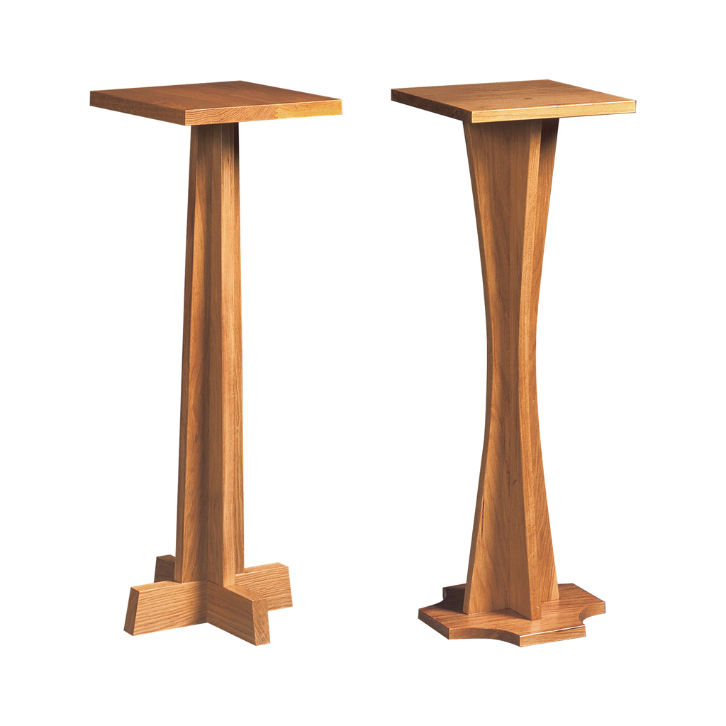 flower oak pedestal - straight and curved stem