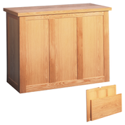 folding oak altar table - open and folded view