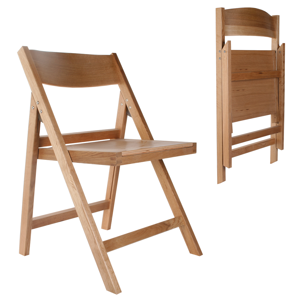 folding natural oak chair - open and folded view