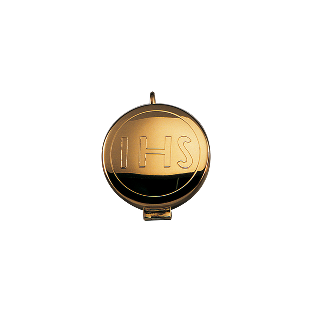 gilt hinged pyx with cord ring - ihs engraved