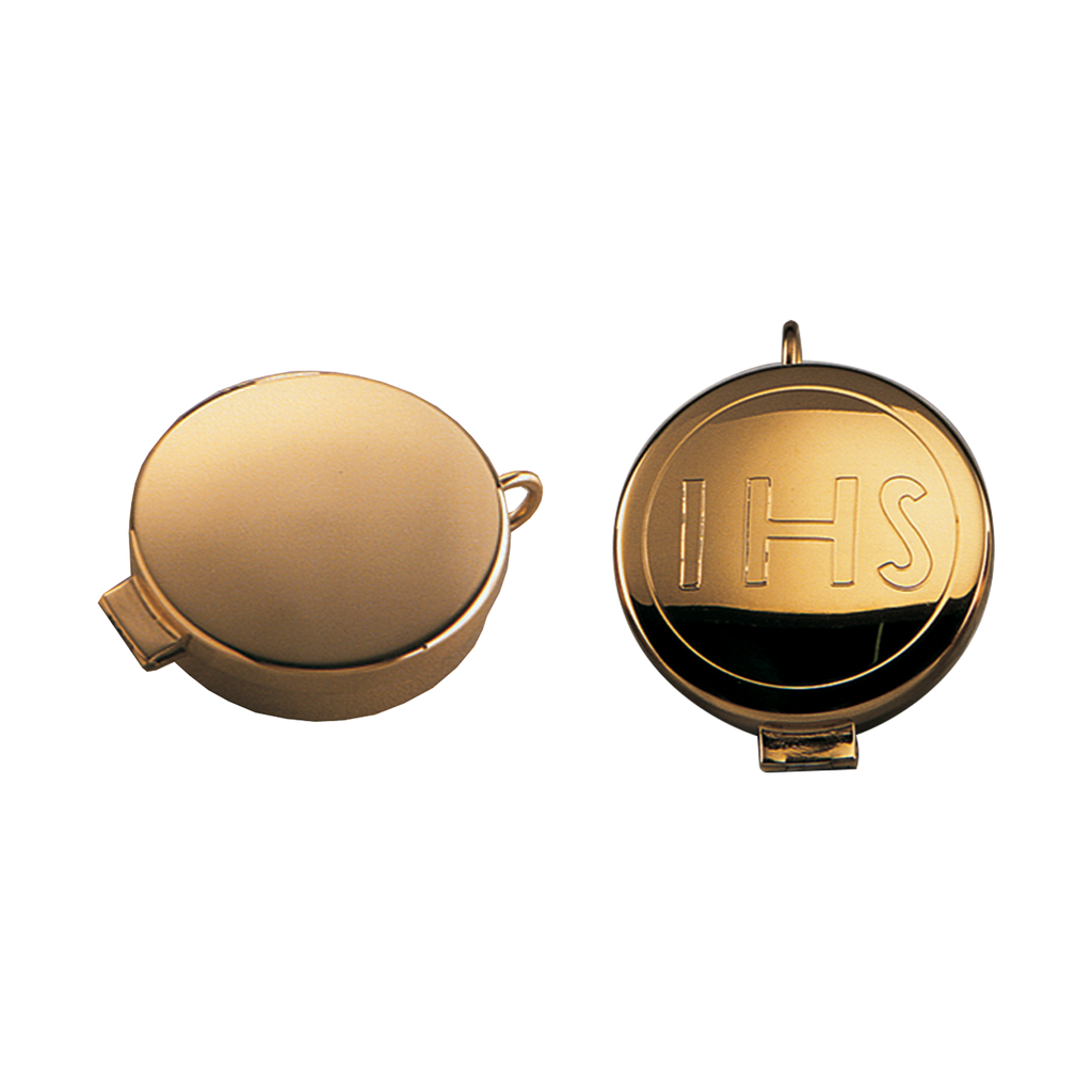gilt hinged pyx with cord ring - plain and ihs engraved