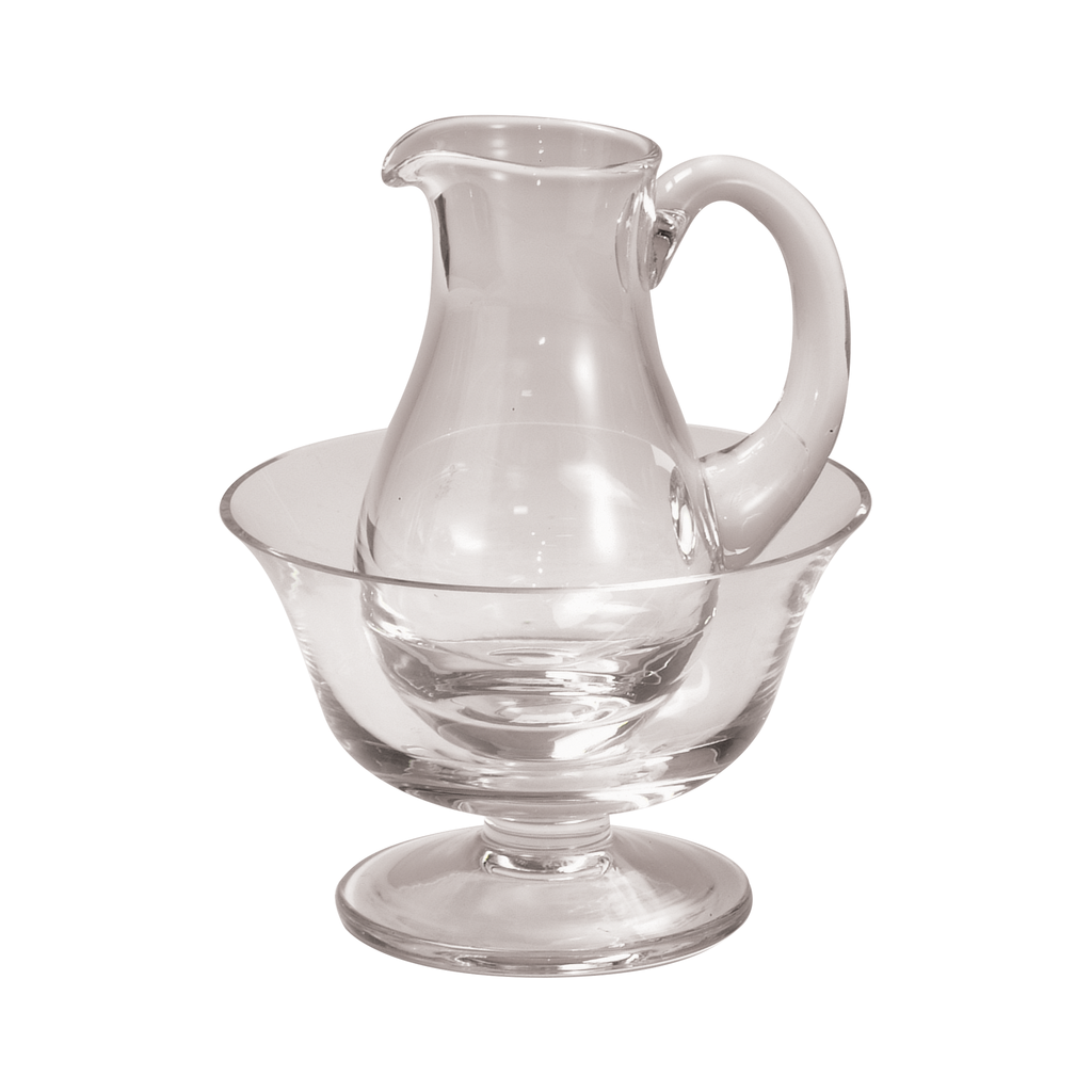 glass lavabo bowl with matching cruet jug