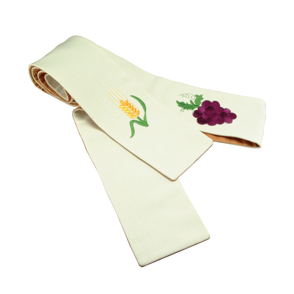 grapes and wheat embroidery cream stole