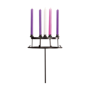 wrought iron holding plate stand top with advent wreath and candles