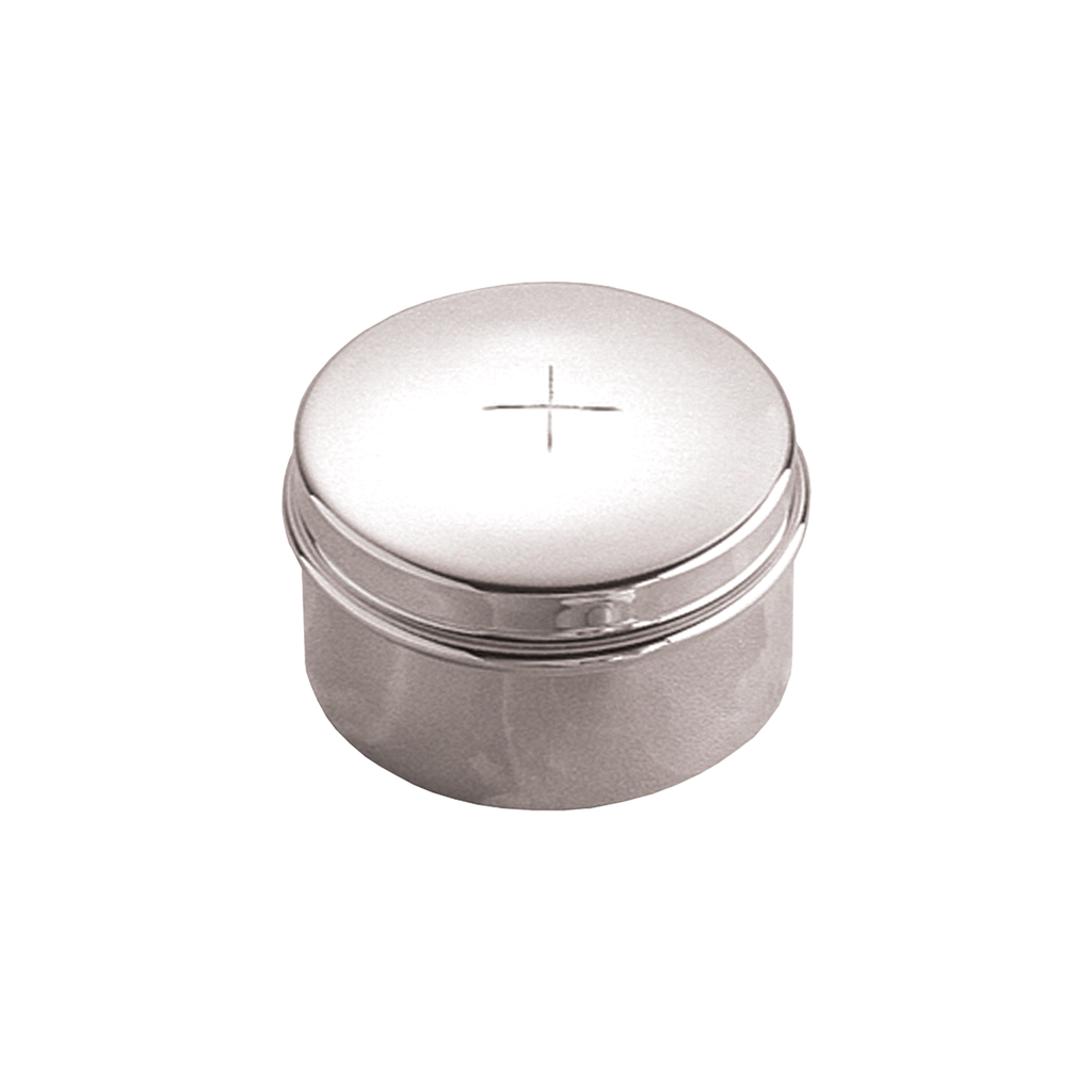 incised cross lift off lid hospital pyx - silver plate and solid silver