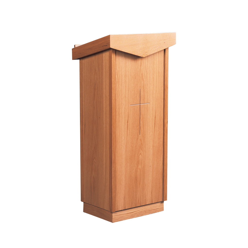 incised cross oak lectern - pointed edge style