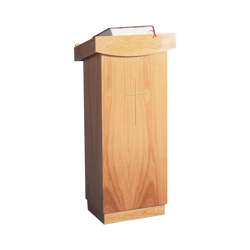 incised cross oak lectern - rounded edge style