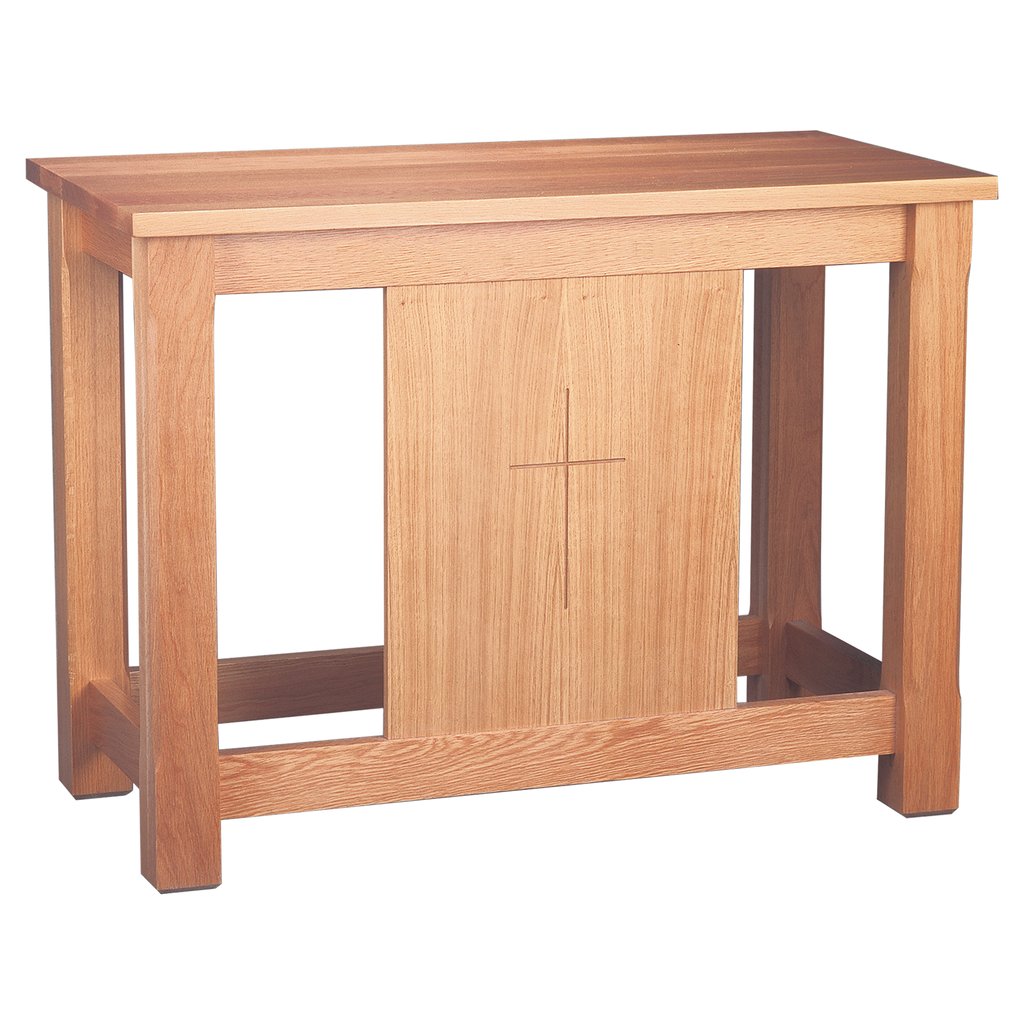 incised cross panel communion table