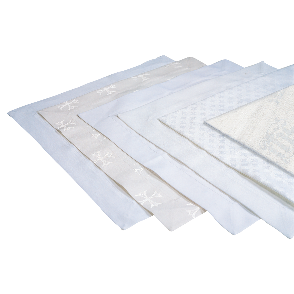 100% linen, St Teresa, Polyester cotton, Polyester linen, Chester and IHS polyester linen Altar Cloths