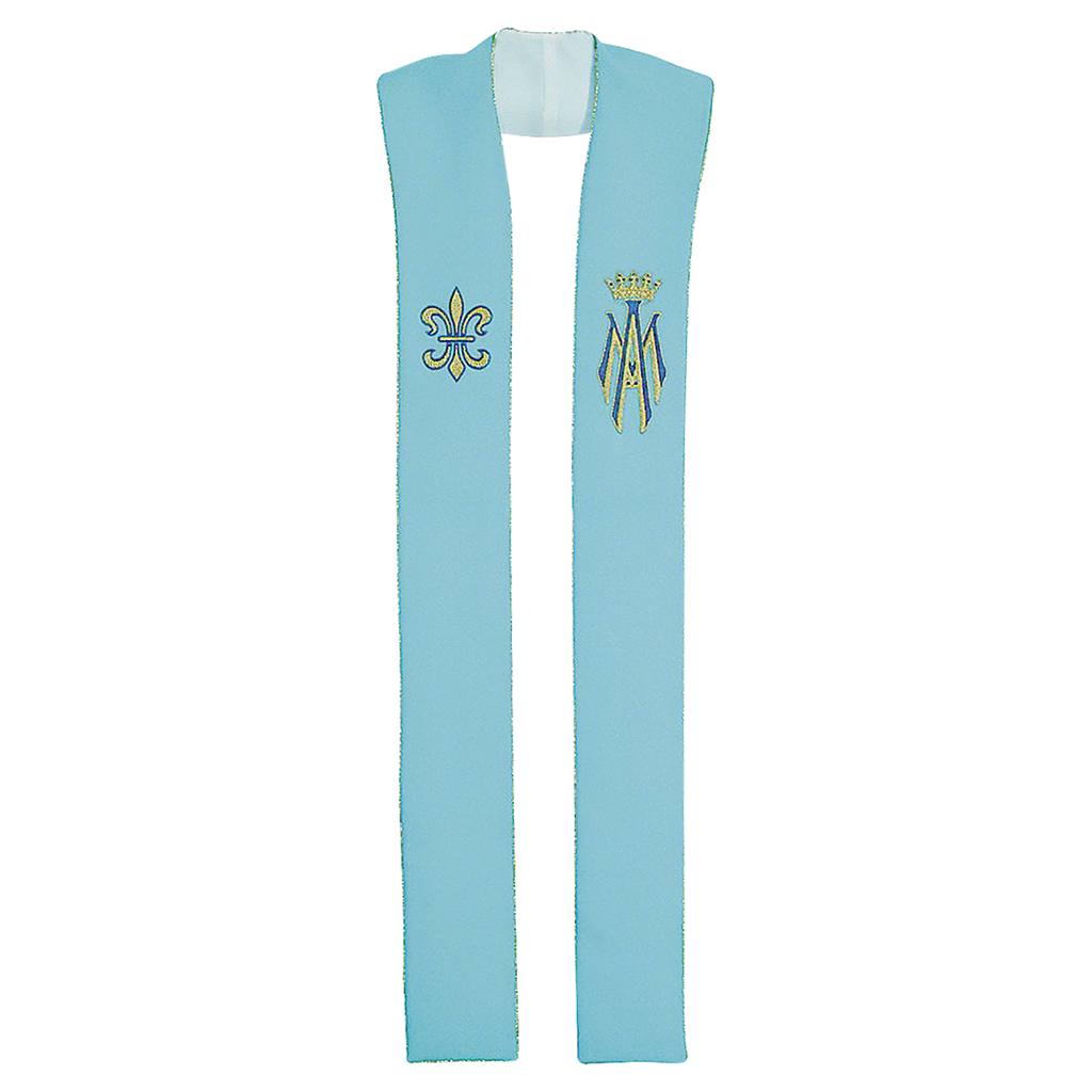marian embroidery blue stole