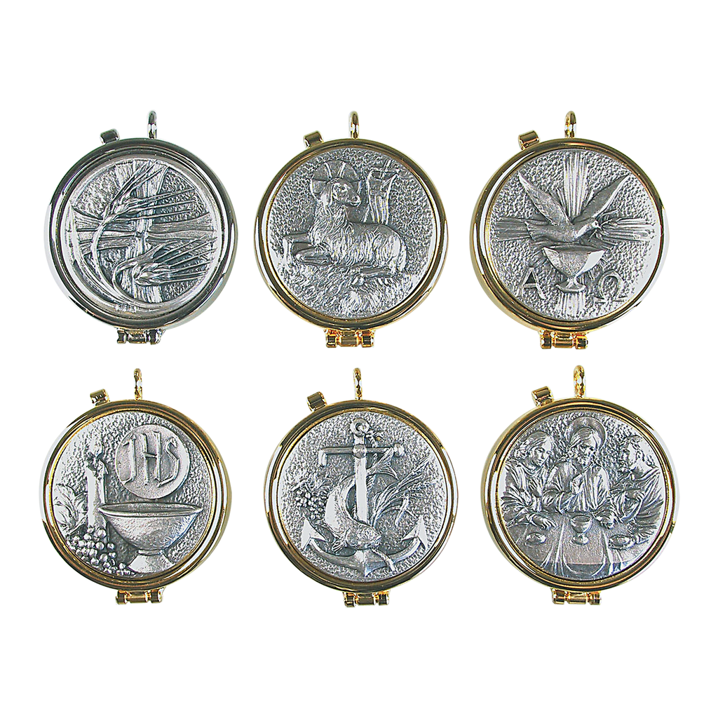 metal design pyx - wheat lamb dove ihs anchor and last supper