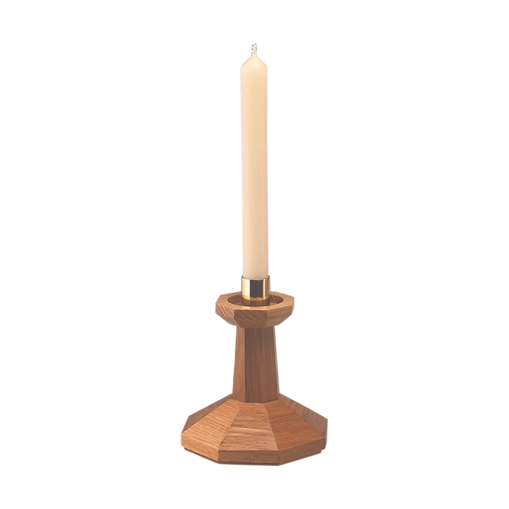 solid oak octagonal design candlestick with brass socket