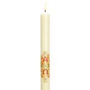 paschal beeswax ivory candles with alpha omega transfer