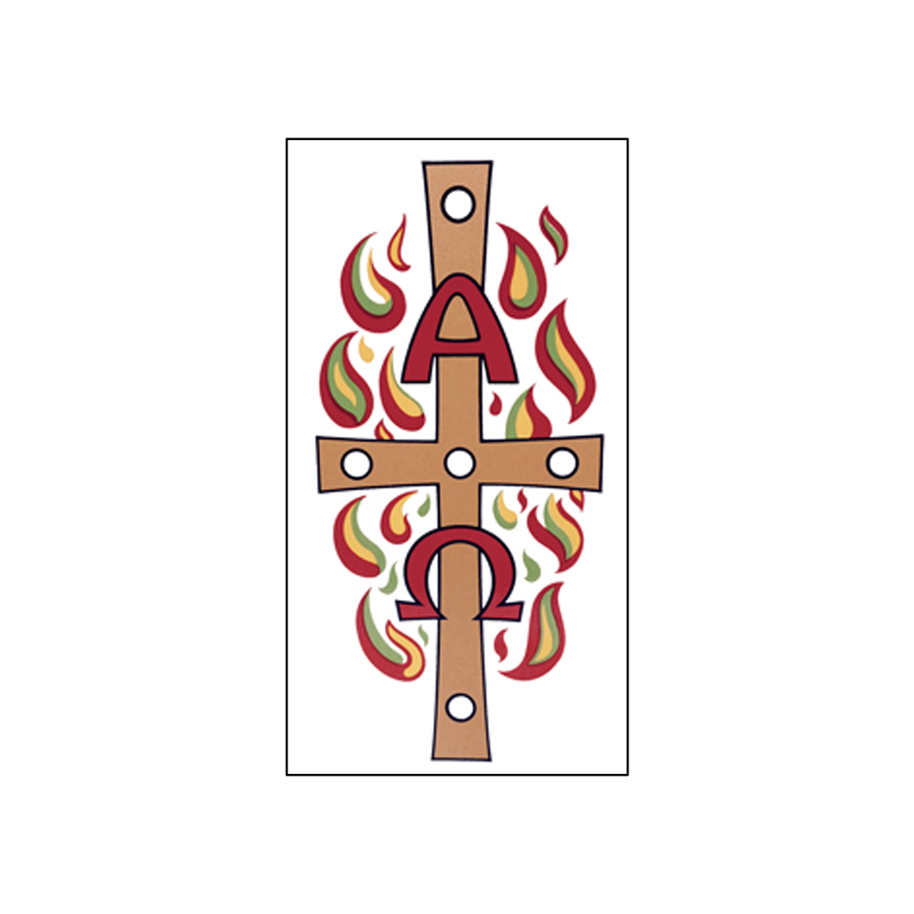 paschal candle peel off easter transfer - alpha omega flames