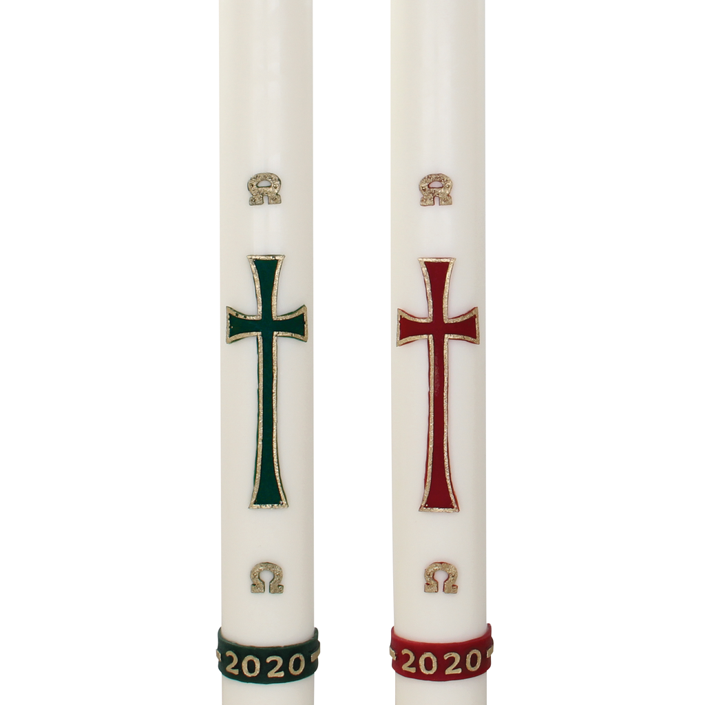 plain cross wax relief paschal candle with alpha omega and year detail - green and red