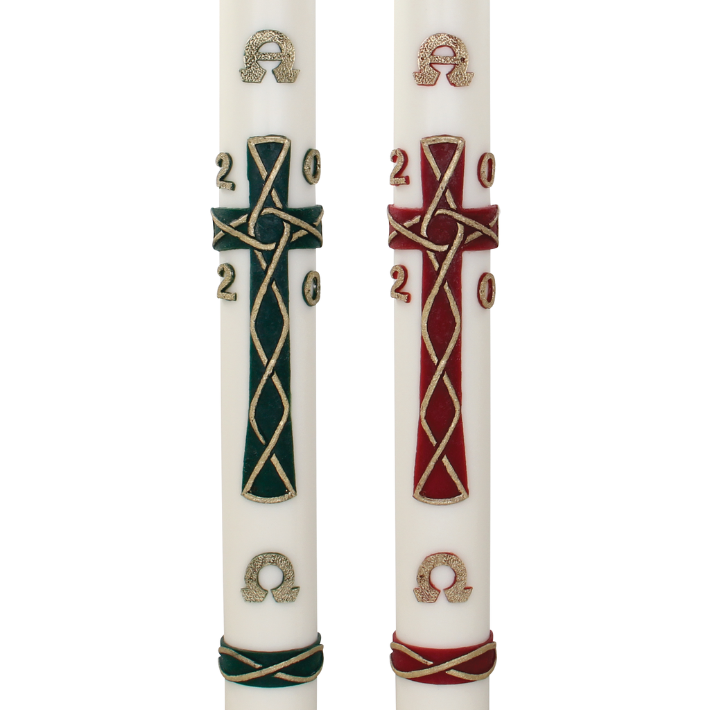 celtic cross wax relief paschal candle - green and red
