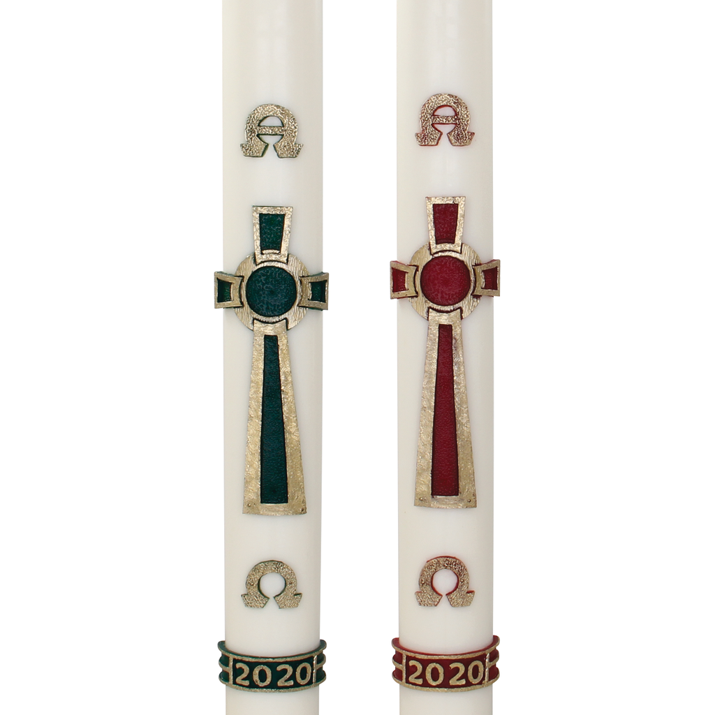 celtic circle cross wax relief paschal candle with alpha omega and year detail - green and red