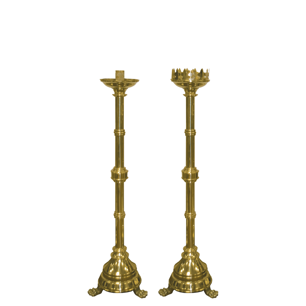 plain brass altar candlestick - plain and castle top