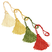 rayon key tassel - cream gold green and red